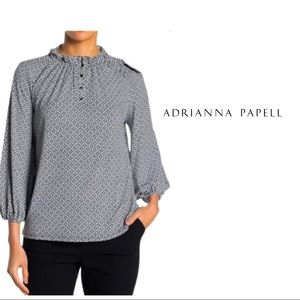 NEW Adrianna Papell Ruffle Neck Placeket Blouse